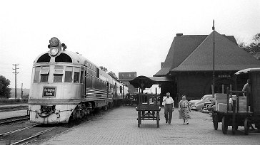 Burlington Route diesel unit 9908 at Keokuk, June 15, 1954