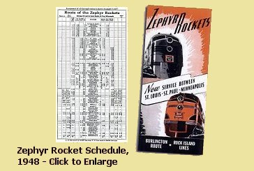 <i>Zephyr Rocket</i> 1948 schedule and promotional leaflet
